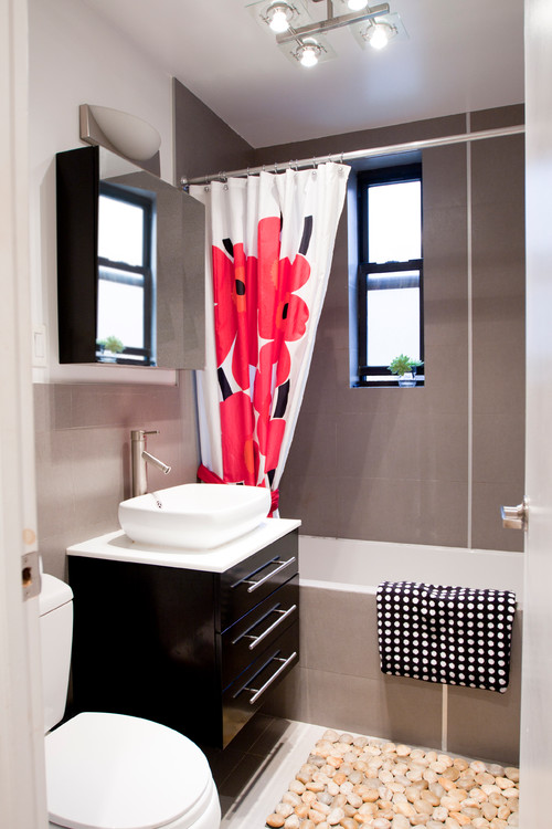 grey bathroom red: red and gray bathroom ideas design. tickled