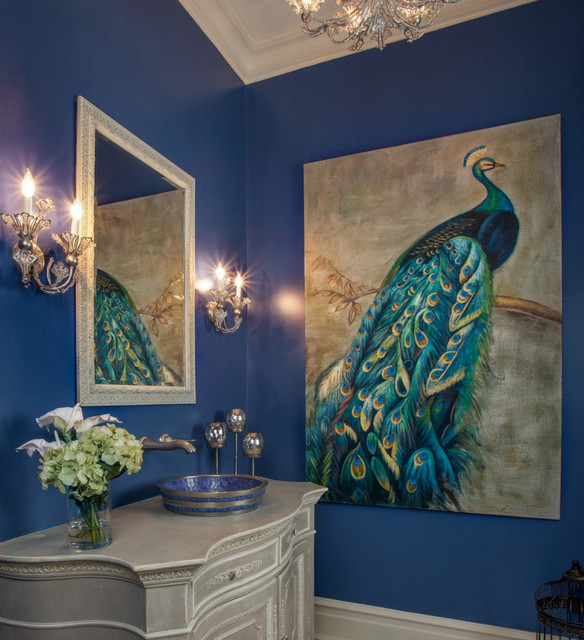 Creighton Farm South Powder Room Traditional Bathroom ·  Shockingpeacockthemedbathroomdecoratingideasimages