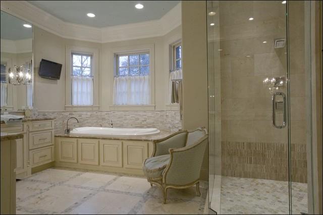 Crema Marfil Leathered with Desert Sand Mosaics traditional-bathroom