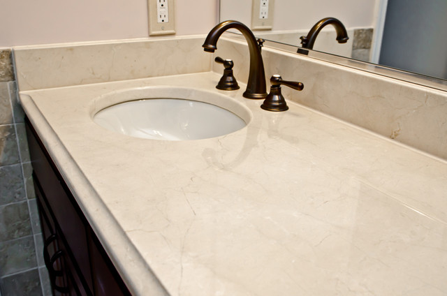 Crema Marfil Marble Double Bathroom Vanity traditional bathroom