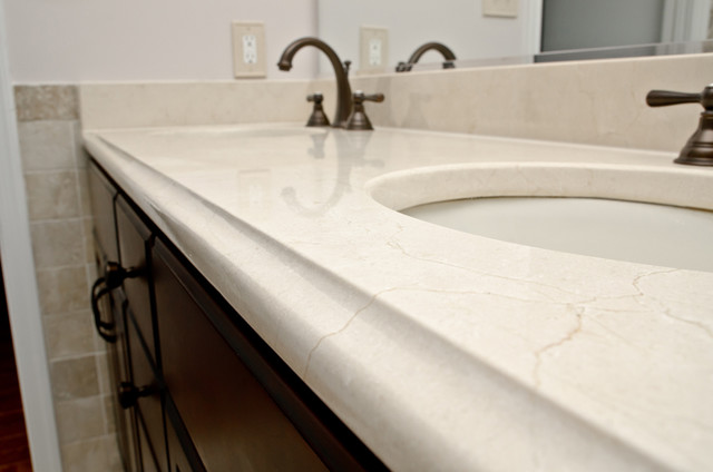 Crema Marfil Marble Double Bathroom Vanity Traditional