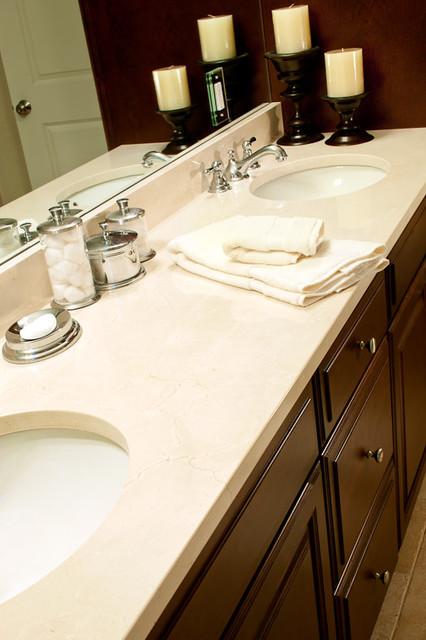 Crema Marfil Marble Vanity Traditional Bathroom