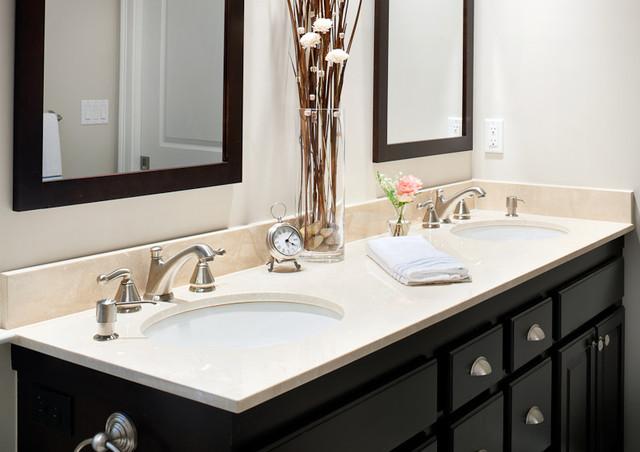 Crema Marfil Marble Vanity Modern Bathroom Boston