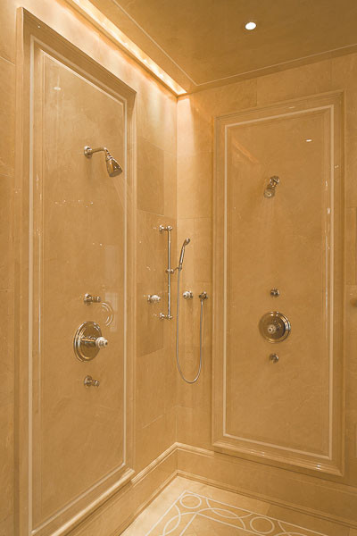 Crema marfil shower walls bathroom portland maine by for Crema marfil bathroom designs