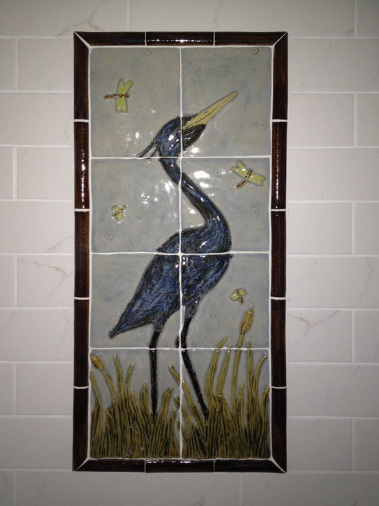 """Cross Lake Bathroom - Handmade high relief ceramic tile mural made by SoMi Tileworks.  Installed into a bathroom in a north woods cabin in Minnesota.  Size is 16"""" x 34"""""""