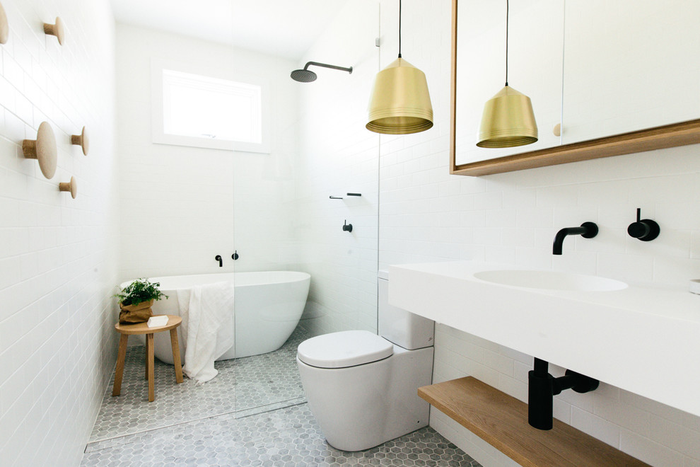 Small danish white tile bathroom photo in Sydney with white walls