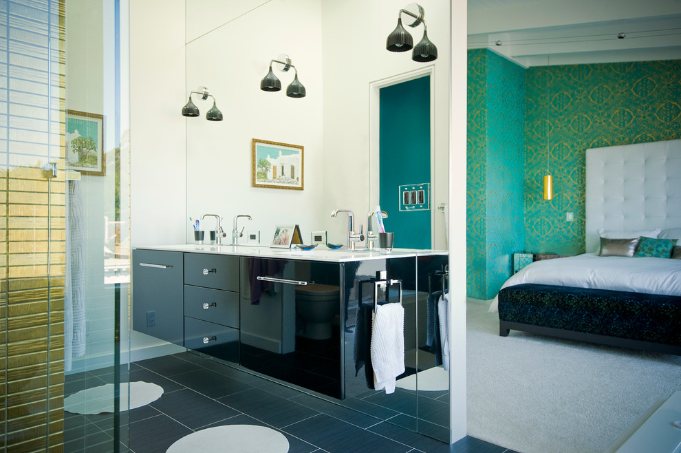 Trendy bathroom photo in San Francisco with flat-panel cabinets and black cabinets