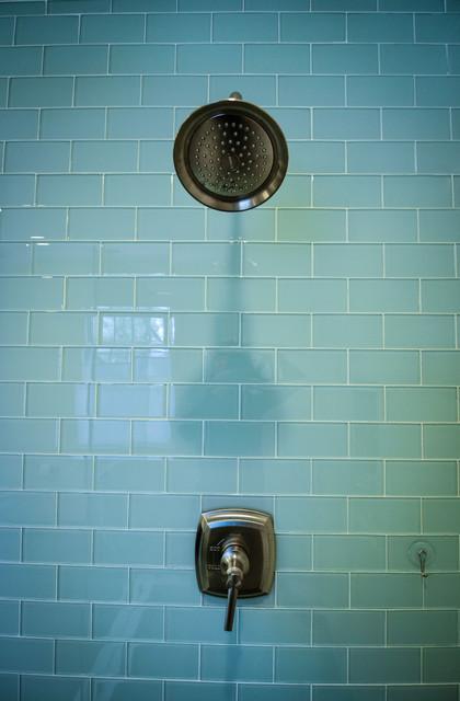 Crystal Blue Glass Subway Tile Modern Bathroom