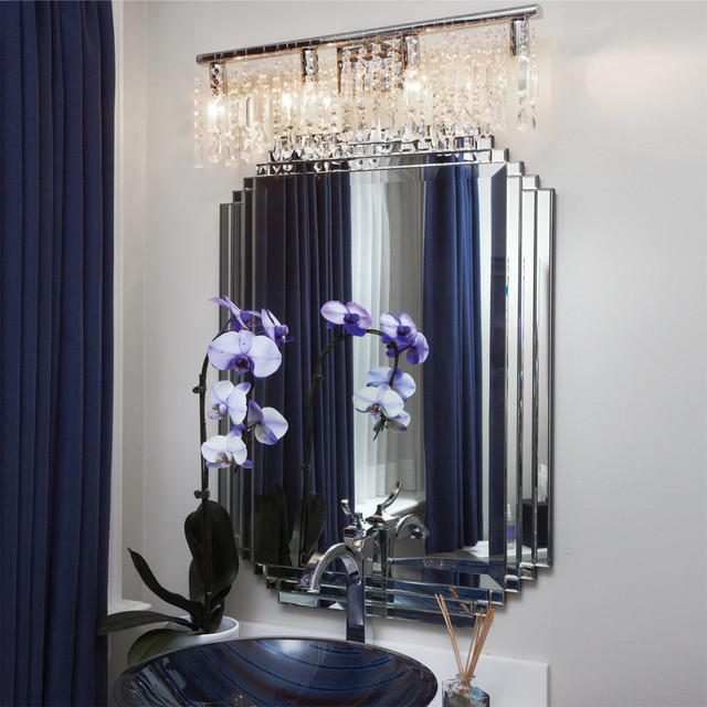 Crystal Fusion Design 4 Light 24 Bath Vanity Fixture Contemporary Bathroom New York By