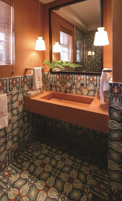 Cuban Tiles Create a Tropical Splash tropical bathroom