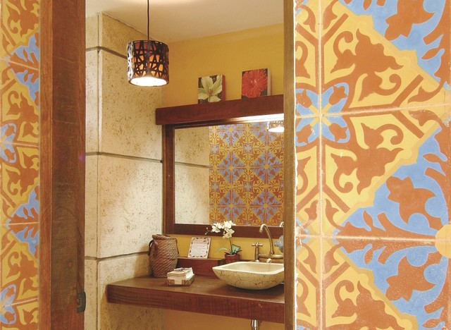 cuban tiles pair well with stone amp wood in this bath cuban home decor home decorating ideas cafepress
