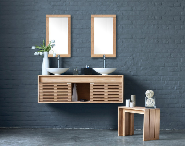 Line Art Bathroom : Cube by line art solid teak wall mounted vanity