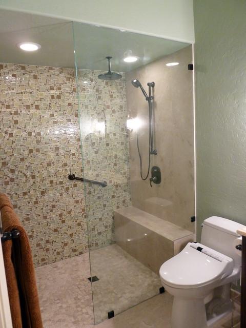 Curbless doorless mosaic glass frameless shower contemporary-bathroom