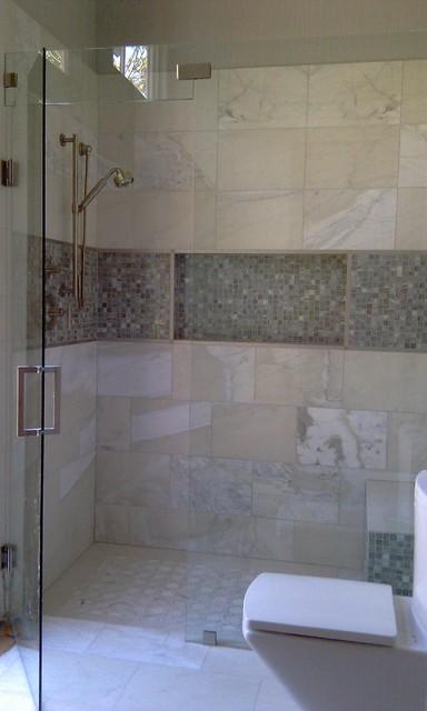 curbless shower transitional bathroom dallas by kasper custom remodeling llc