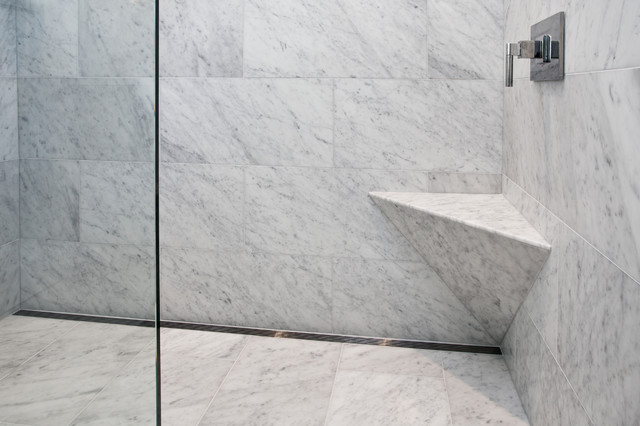 Curbless shower with channel drain contemporary for Channel 4 bathroom design ideas