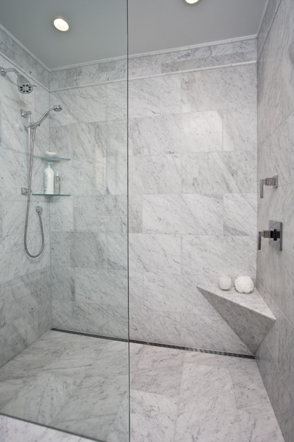 Curbless Shower With Channel Drain Contemporary