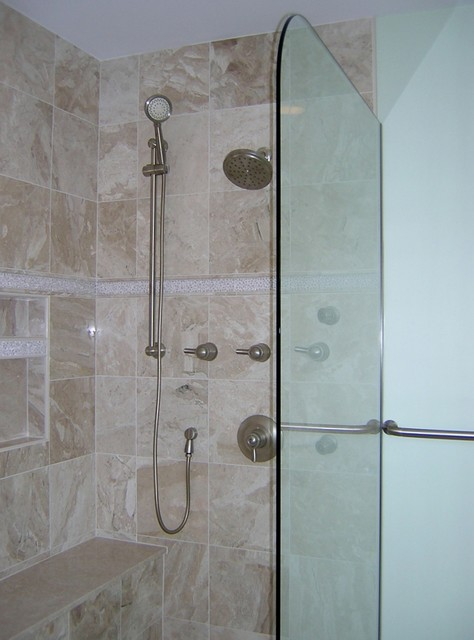 Curbless Showers, Fashion Now, Function Later traditional bathroom