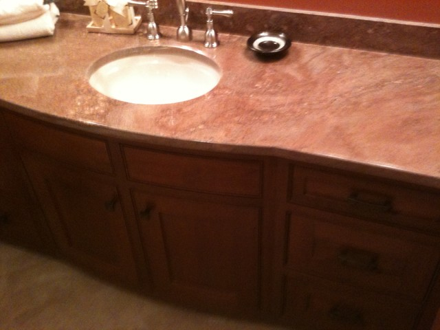 remarkable curved front bathroom vanity   Curved front bath vanity designed and created in our ...
