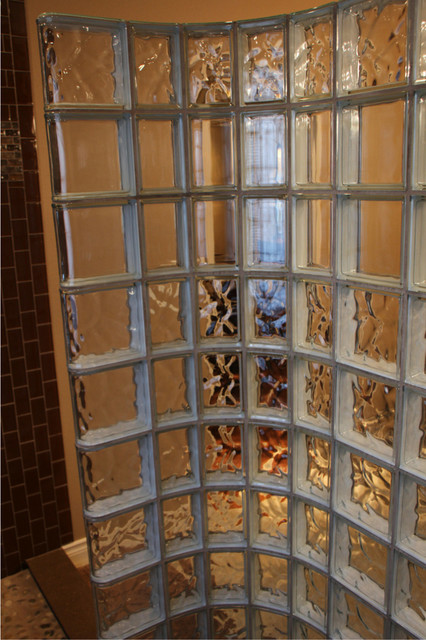 Curved Glass Block Shower Wall With Clear Rows In South