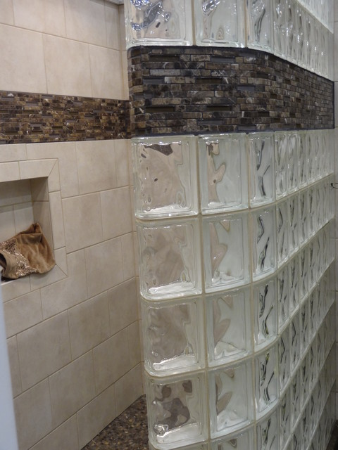 Curved glass block shower wall with ready for tile base for Curved glass wall