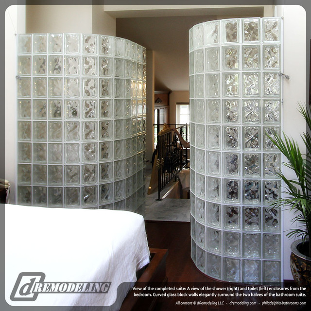 Curved glass block walls traditional bathroom - Bathroom glass block wall ...