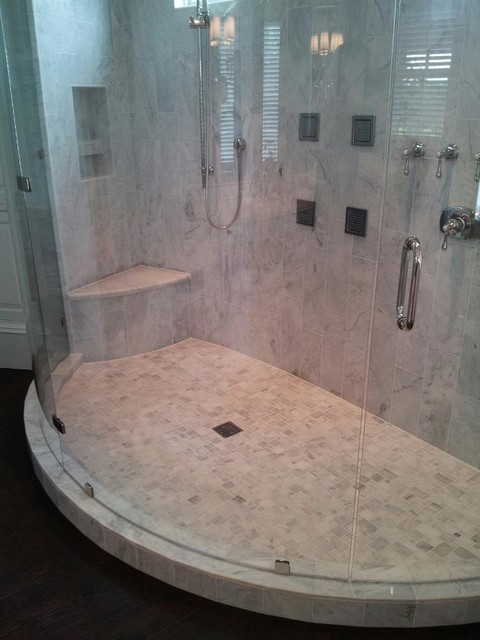 Curved Marble Shower Modern Bathroom Charleston By