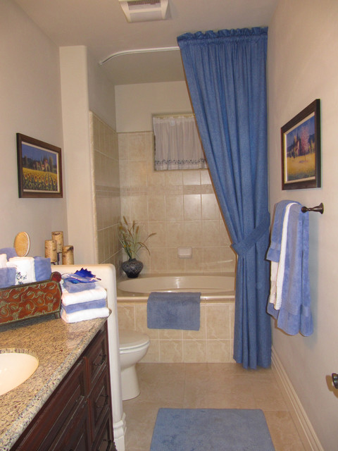 Curved track traditional bathroom