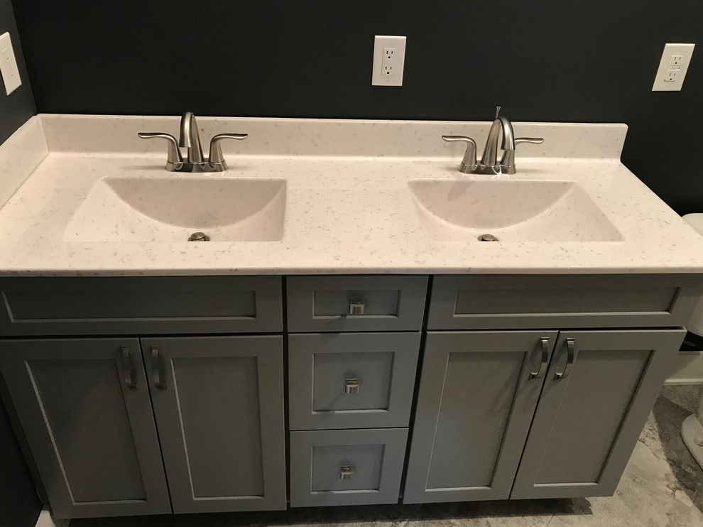 Custom Amish Cabinetry And Waypoint Cabinetry Extra White And Peppercorn Grey Bathroom Indianapolis By Concepts The Cabinet Shop