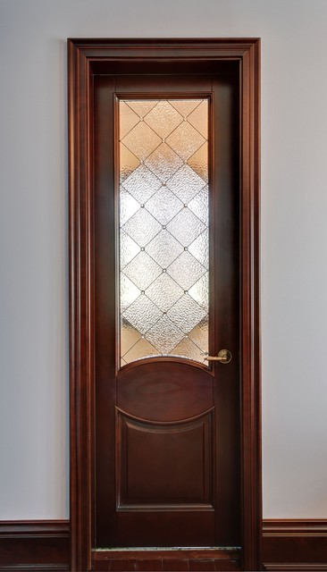 Custom Art Glass Door Inserts Traditional Bathroom