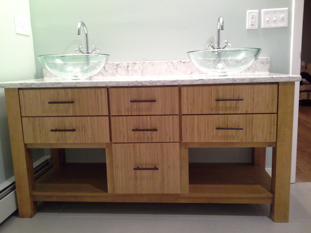 Custom Bamboo Vanity Contemporary Bathroom Boston By Chrissy Cunha Dbs