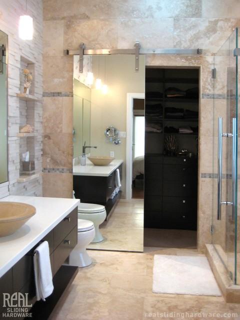 Custom Barn Door Hardware - Contemporary - Bathroom - other metro - by Real Sliding Hardware