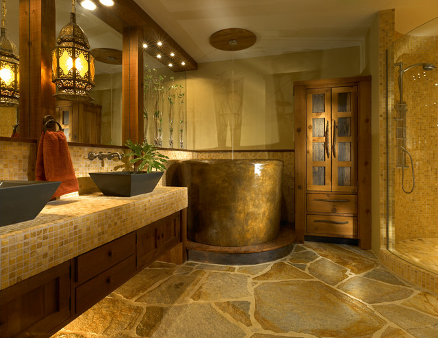 Custom Bath Wth Japanese Soaking Tub Rustic Bathroom
