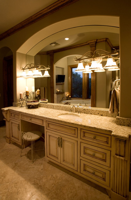 Custom bathroom vanity with painted flush inset cabinet for Custom bathroom cabinets