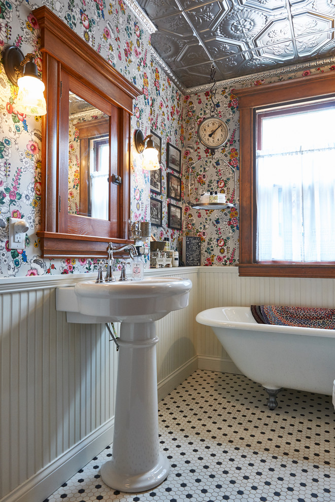 Inspiration for an eclectic freestanding bathtub remodel in Grand Rapids