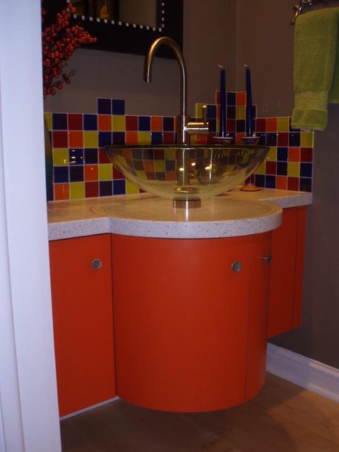 remarkable curved front bathroom vanity   Custom built curved front bath vanity
