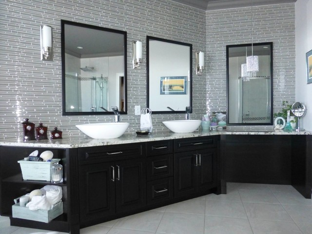 Example of a large trendy master gray tile and matchstick tile porcelain floor and beige floor bathroom design in Toronto with raised-panel cabinets, black cabinets, gray walls, a vessel sink and engineered quartz countertops
