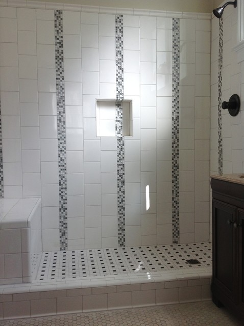 Custom Ceramic Tile Shower Traditional Bathroom New