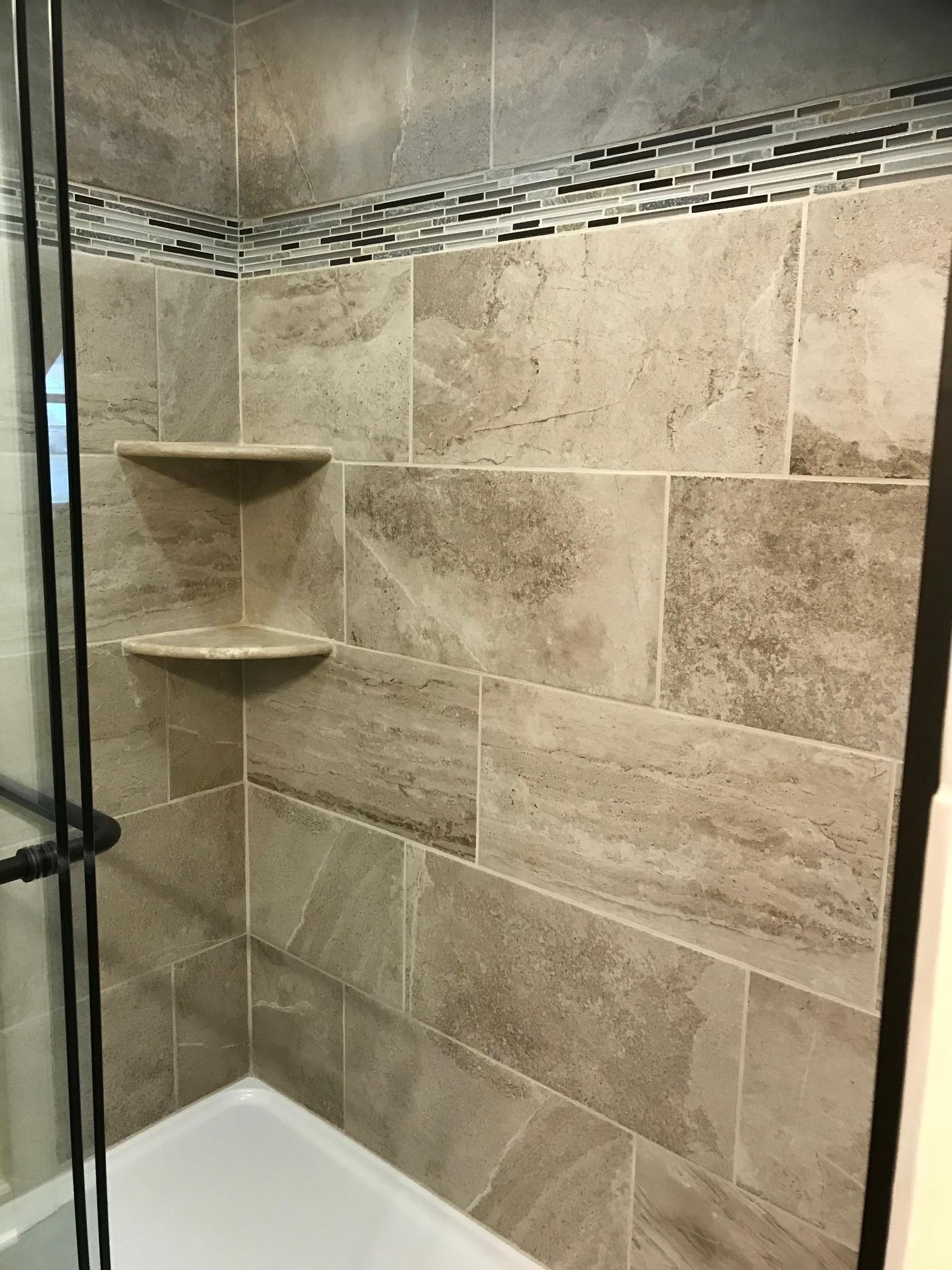 Custom  Ceramic Tile Shower with tile design & shelves