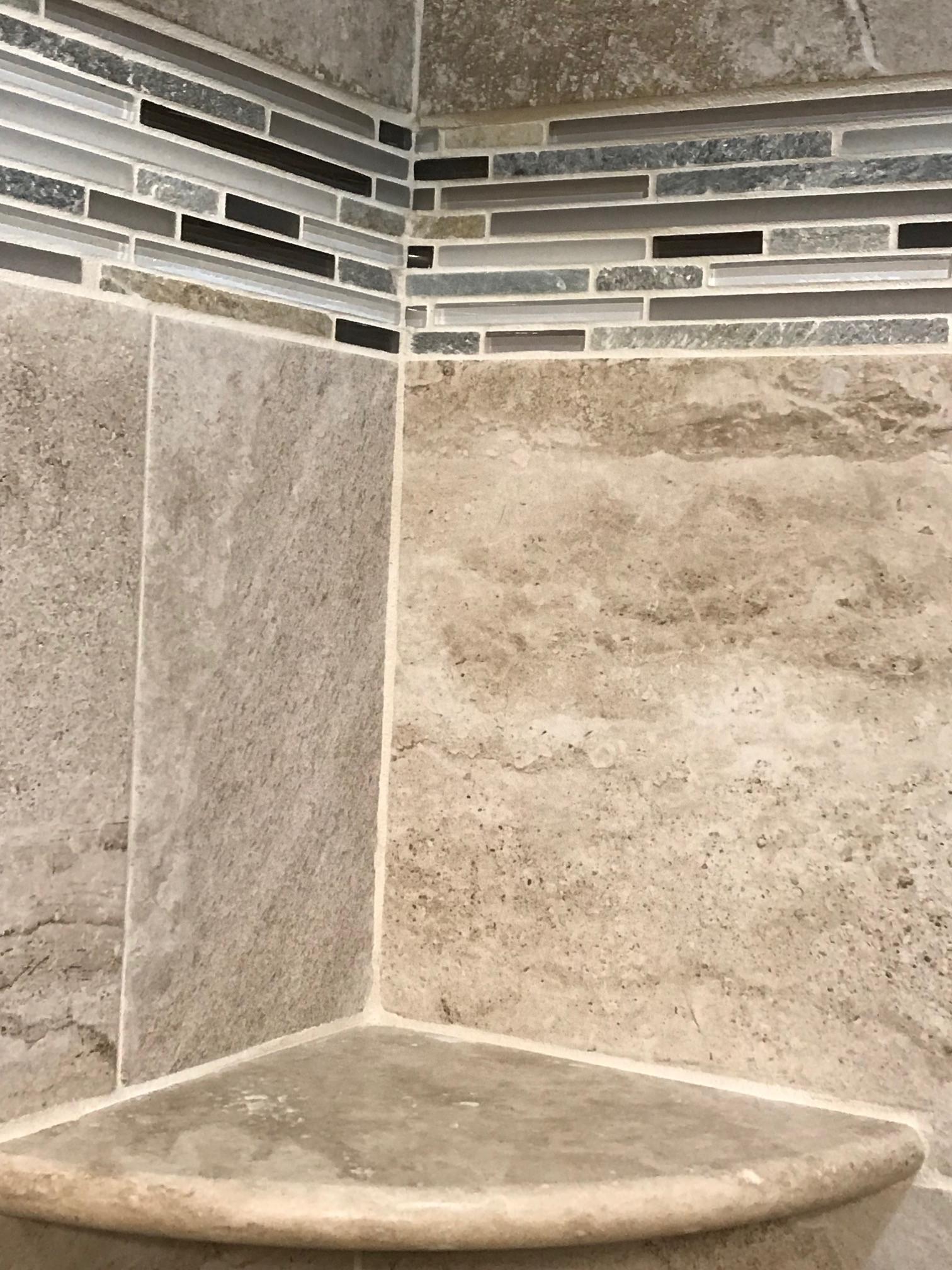 Custom  Ceramic Tile Shower with tile design