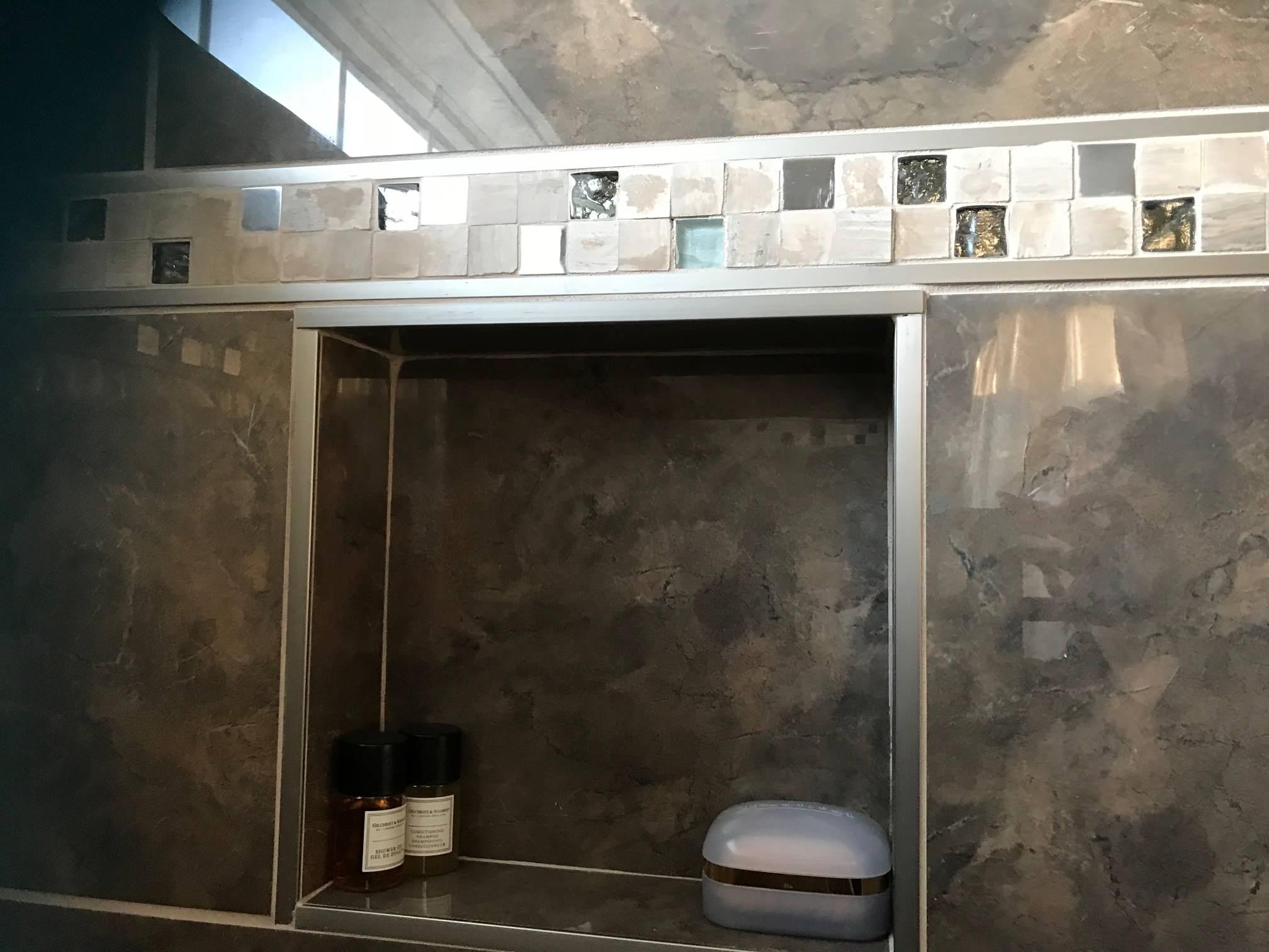 Custom  Ceramic Tile Tub Surround with Niche & inlaid tile design