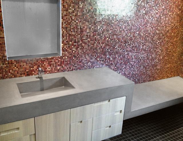 Custom Concrete Bathroom Vanity Sink And Floating Shower Bench Modern