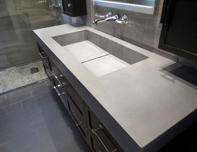 Custom Concrete Bathroom Vanity Sink With Wall Mounted Faucet
