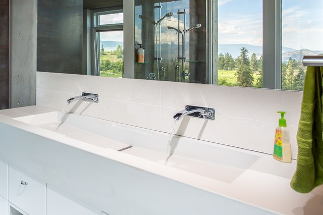 Custom Concrete Countertop With Integral Trough Sink - Integrated bathroom sink and countertop