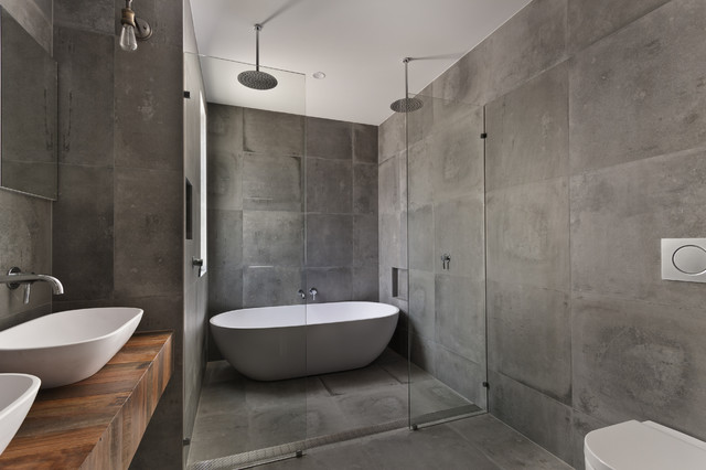 Custom Concrete Tile Shower Encinitas CA Industrial  : industrial bathroom from www.houzz.com size 640 x 426 jpeg 55kB