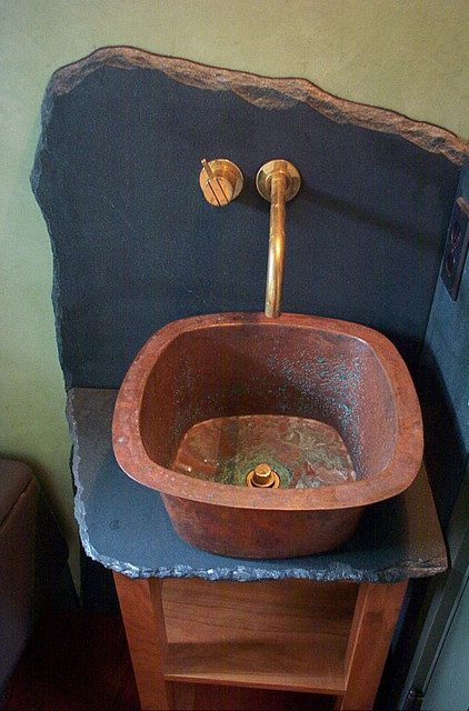 Copper Corner Sink : custom copper sink, artistic slate backsplash, small corner vanity ...
