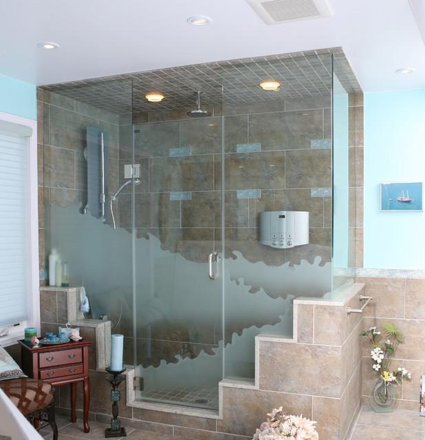 Custom Corner Shower Door With Sandblasted Wave Design Contemporary Bathroom