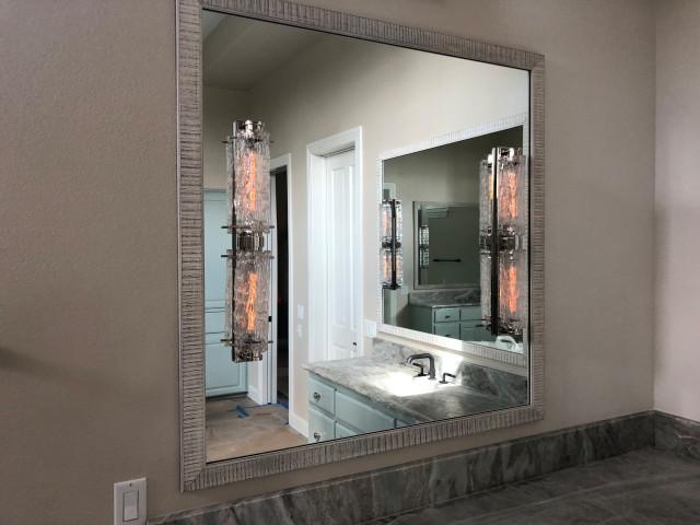 Custom Cut Vanity Mirrors Contemporary Bathroom Austin By Arrow Glass And Mirror Inc