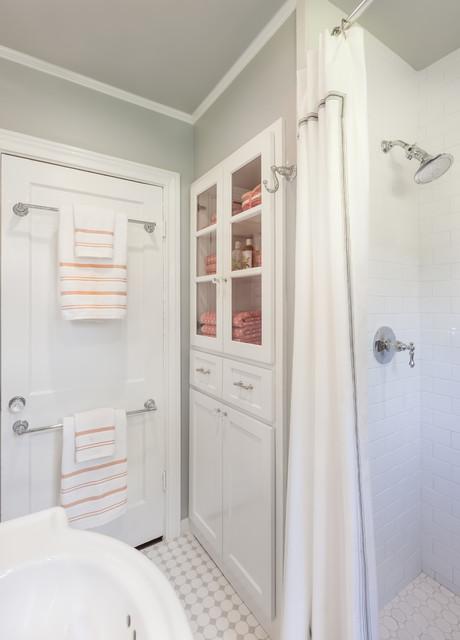 Custom designed cabinet custom walk in shower in white - Custom bathroom vanities houston ...