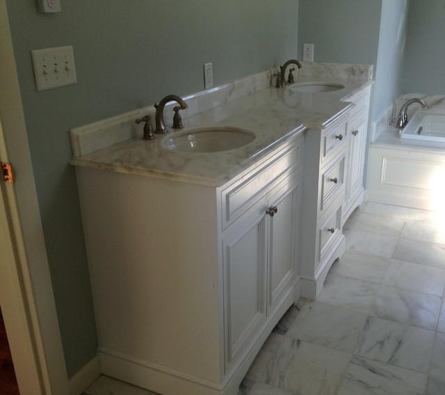 Custom designed double vanity marble top farmhouse for Custom marble bathroom vanity tops