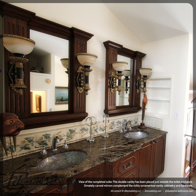 Custom Double Vanity With Carved Mirrors